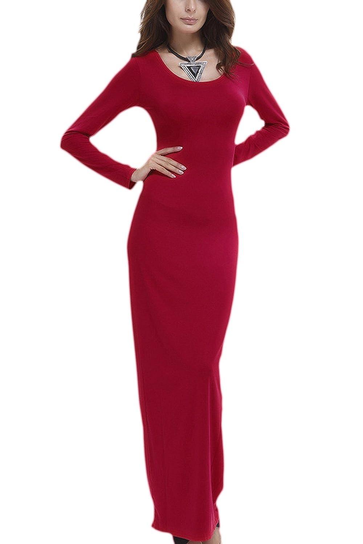 YACUN Women's Long Sleeve Bodycon Long Maxi Tshirt Dress CALMT17072515