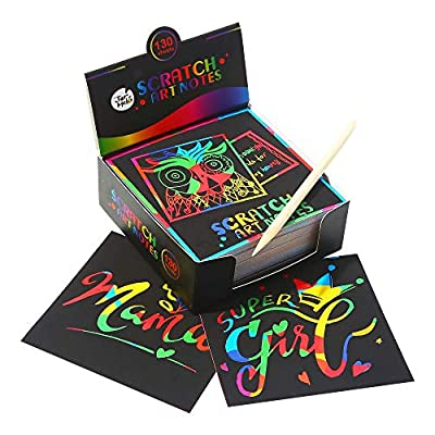 Jar Melo Scratch Art Notes; 130 Sheets; with 2 Wooden Styluses; Rainbow Mini Notes; 4 Kinds of pattens as Backgrounds; Scratch Magic NotesNotes; Scratch Magic Notes