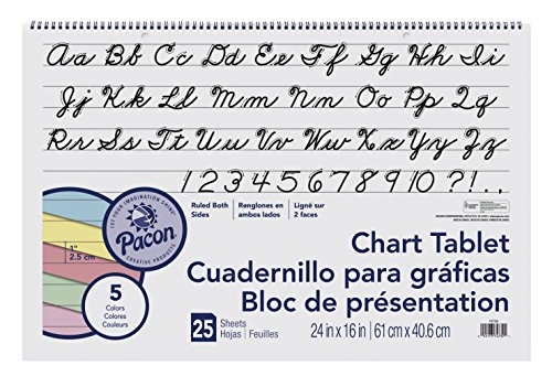 Pacon Chart Tablet, Cursive Cover, Assorted 5 Colors Inside, 1