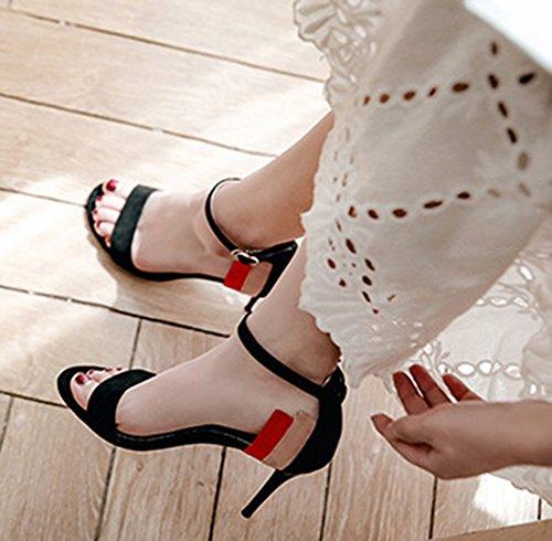 Noir Aisun Basse Bride Cheville Rayures Parfait Sandales Femme Multicolore zWrpAzq8F