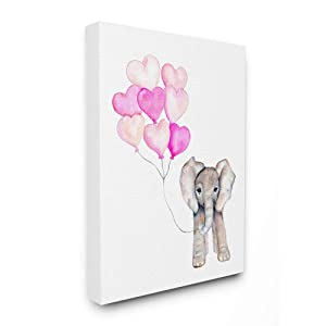 The Stupell Home Décor Collection Baby Elephant with Pink Heart Balloons Oversized Stretched Canvas Wall Art, 24 x 30