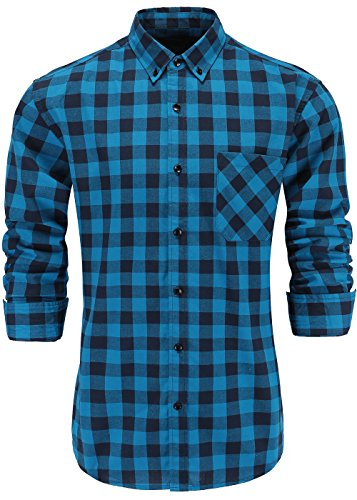 GoldCut Men's 100% Cotton Slim Fit Long Sleeve Button Down Plaid Dress Shirt Small Blue Black