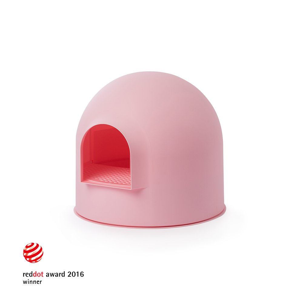 Pidan Studio Snow House Igloo Cat Litter Box, Red Dot Design with Ionpure Technology, Baby Pink