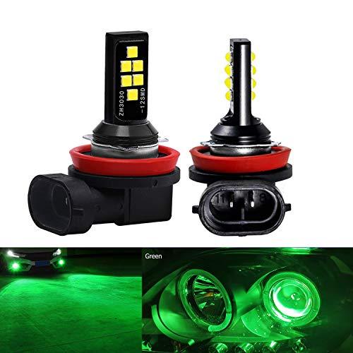 SOCAL-LED LIGHTING 2x H11 H8 LED Fog Light Bulb Advanced 3030 SMD Bright Colorful Daytime Running DRL Lamp, Green