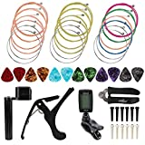 M-Aimee 46pcs Guitar Strings Changing Tool, Guitar Kits Including Guitar Strings Guitar Tuner Picks Capo Pins Guitar String Cutter and Winder Home Tool Kit