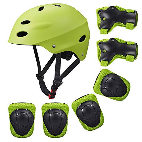 Kids Sports Knees Elbows Wrists Head Support Protection Helmet Set for Unisex Toddler Children Extreme Sports Youth Roller Bicycle BMX Bike Skateboard Protector Guards Pads -7Pcs(Green) - Bmx Pad Set