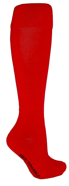 SockTower メンズ ユニセックス スポーツ アスレチック クッション クルー チーム フィールド 野球 ソフトボール コットン テリー プレーン ニーハイソックス B00KGQXG86 L|レッド レッド L