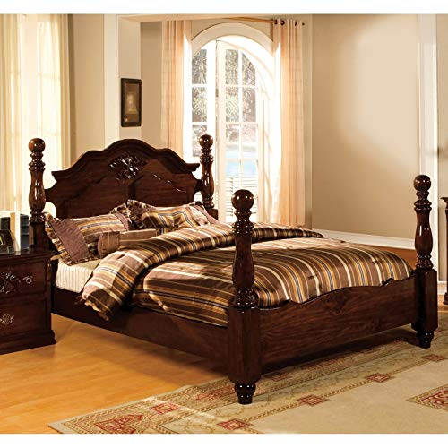 - Furniture of America Weston Traditional Style Glossy Dark Pine Four Poster Bed Queen