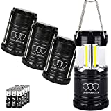Gold Armour 4 Pack LED Camping Lantern Portable Flashlight with 12 aa Batteries - Survival Kit for Emergency, Hurricane, Power Outage Great (350 Lumens)