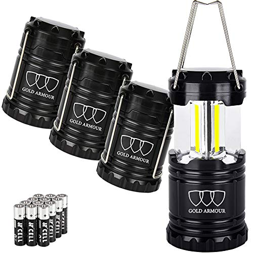 Gold Armour 4 Pack Portable LED Camping Lantern (EMITS 350 LUMENS!) LED Lantern - Camping Equipment Gear Lights for Emergency, Hurricane, Power Outage, Great Gift Set -