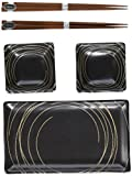Miya Stich Japanese Sushi Plate Gift Set with 2-Pair of Chopsticks, Sushi for Two, Black
