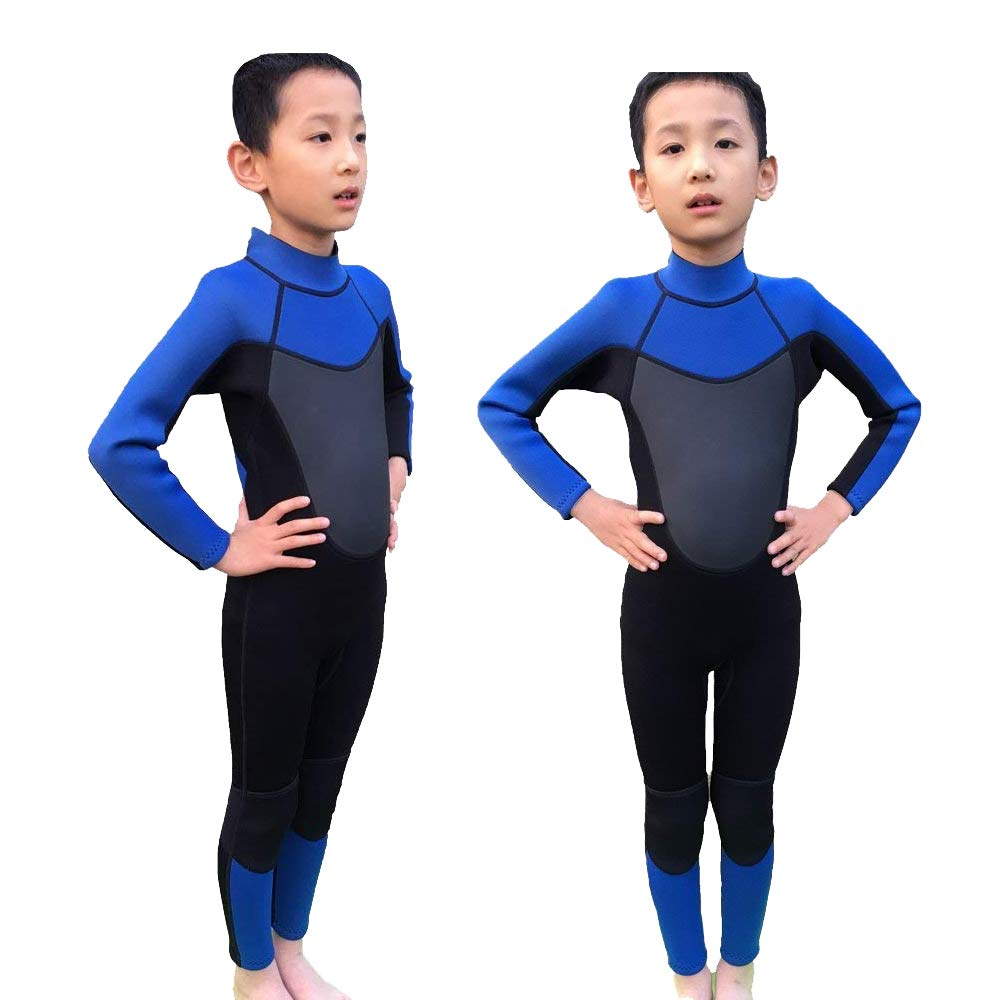 Realon Wetsuit Kids Shorties 3mm Boys Swim Surfing Snorkeling Wet Suits Youth (Blue Full, S)