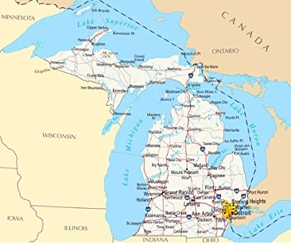 Detroit On A Map Amazon.com: MICHIGAN STATE MAP GLOSSY POSTER PICTURE PHOTO BANNER