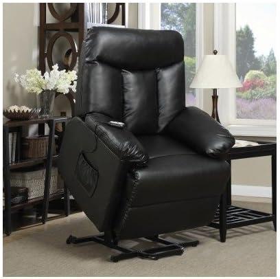 Lift Chair Recliner Electric Power Renu Leather Comfort Full Recline Motion Assist Medical Lounge Black Furniture Decor Amazon Com