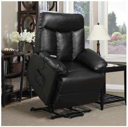 Lift Chair Recliner Electric Power Renu Leather Comfort Full Recline Motion Assist Medical Lounge Black