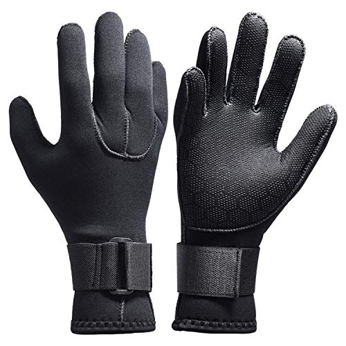 Neoprene Scuba Gloves - Dark Lightning Scuba Diving Gloves for Men and Women, with Elastic Wrist Band, 3mm Neoprene for All Water Sports, Boating, Cleaning gutters, Pond and Aquarium Maintenance (3mm - Black, M)