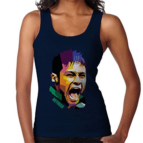 Geometric Celebrity Neymar Women's Vest Navy blue