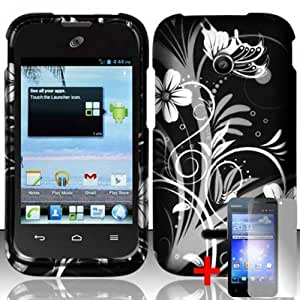 HUAWEI INSPIRA H867G WHITE VINE BLACK RUBBERIZED COVER SNAP ON HARD CASE + SCREEN PROTECTOR from [ACCESSORY ARENA]