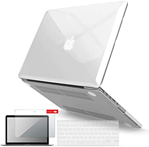 IBENZER MacBook Pro 13 Inch Case 2015 2014 2013 end 2012 A1502 A1425, Hard Shell Case with Keyboard Cover & Screen Protector for Old Version Apple Mac Pro Retina 13, Crystal Clear, R13CYCL+2