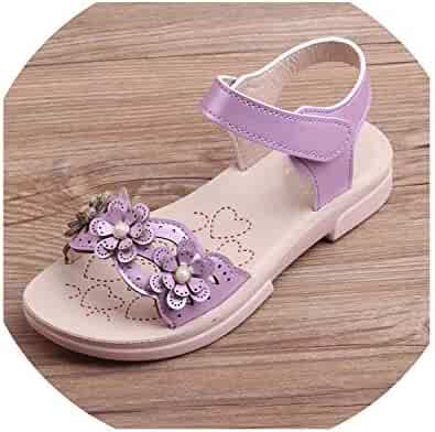 POWVLING sandals Girls Leather Shoes Kids Casual Shoes for Girls Princess Children Shoes Flats Party Wedding School Dress Spring Autumn Kid Pink 2