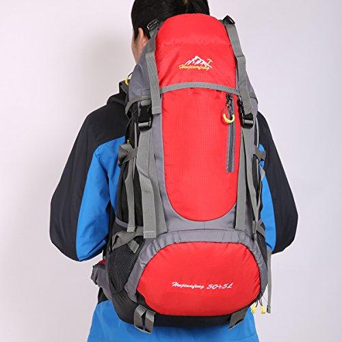 HWJIANFENG 55L Mochilas de Acampada Multifuncional Mochilas de Senderismo de Nailon Impermeable Mochilas de Ciclismo para Viajes Unisex color Azul rojo