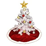 Tabletop Artificial White Christmas Tree with Festive Sparkling Red Tinsel Tree Skirt Bundle