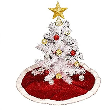 Amazoncom Tabletop Artificial White Christmas Tree With Festive