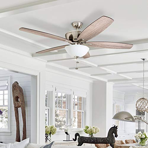 "Prominence Home 51029 Denon Large Farmhouse Ceiling Fan, 60"", Brushed Nickel"