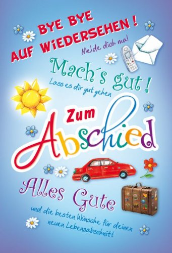 Karte Abschied Text Alles Gute Koffer Blumen 5 Stuck Amazon De