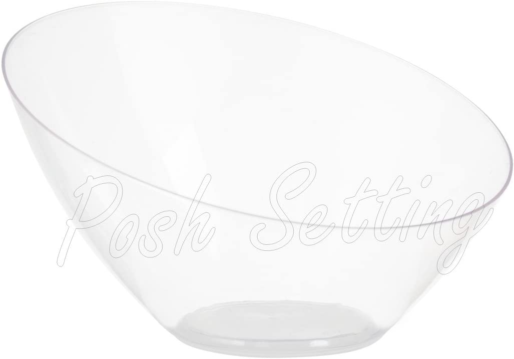 Posh Setting Clear Plastic Bowls for Parties, Disposable Serving Bowls, Hard Plastic Large Angled Party Snack Bowls, Chips Bowls, Salad, Candy and Fruit Bowl 5 Pack