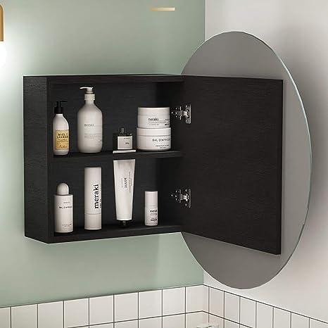 Miroir de Salle de Bain Armoire 3 Portes Rangement Armoire murale étagère Organisateur