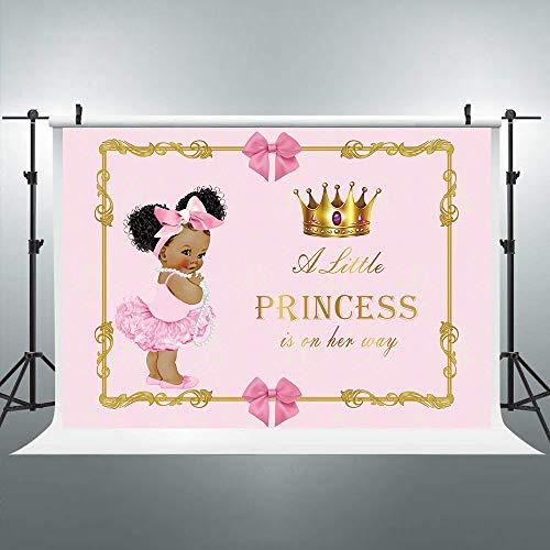 (Riyidecor Gold Crown Royal Princess Backdrop Pink Bow Girls Africa Kids Photography Background 8x6ft Baby Shower Birthday Geometrical Decoration Newborn Props Party Photo Shoot Blush Vinyl)