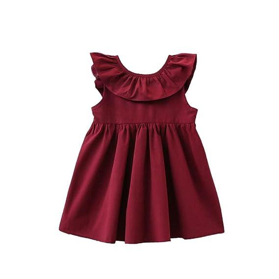 ... para Niños pequeños sin Manga Lindo Tutú Vestido de la muchacha Encantadora de días casuales niña de Verano Ropa de fiesta de la Princesa (90, ROJO): ...