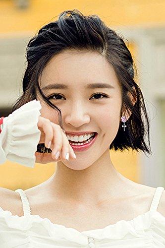 KENHOI Beauty korea sterling silver earrings earings dangler eardrop women girls creative gift sweet woman zircon color bow lollipop hypoallergenic silver needle