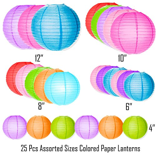 Selizo 25 Packs Paper Lanterns Decorative with Assorted Colors and Multi Sizes for Party Decoration by Selizo (Image #1)