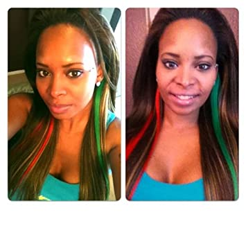 2 piece bright red green christmas colors clip in streaks 100 human hair extensions