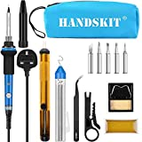 Soldering Iron Kit, 60W Adjustable Temperature Soldering-Iron Gun Kit Welding Tool with 5 Soldering Tips, Desoldering Pump, Tin Wire Tube, Soldering Iron Stand, Tweezers, Screwdriver