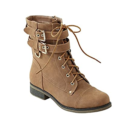 Womens Winter Martin Booties Ankle Lace Up Chunky Low Heel Buckle Strap Boots