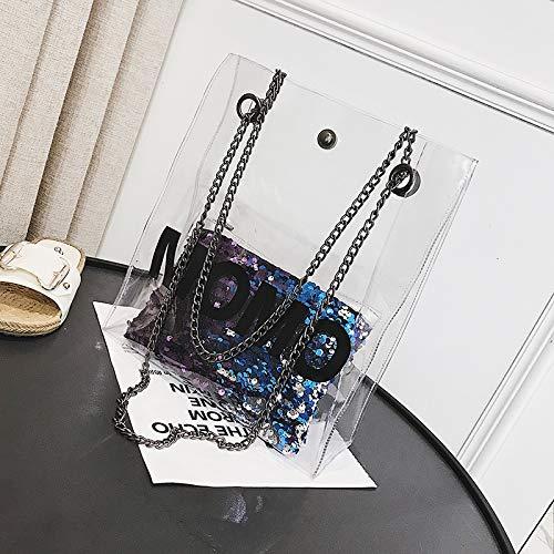 féminine Diagonale Sauvage WSLMHH fée Sac la chaîne Sac de Mode Sac Paquet Transparent à bandoulière de coréenne Bleu d'été Version qwT1fqU