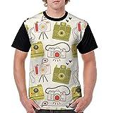 CKS DA WUQ Camera Sticker Men's Raglan Short Sleeve Tops T-Shirt Comfort Undershirts Baseball Tees