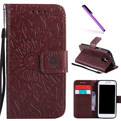 Galaxy S5 Case,LEECOCO Fancy Embossed Floral Pattern Wallet Case with Card/Cash Slots [Kickstand] Shockproof PU Leather Flip Case Cover for Samsung Galaxy S5 i9600 Mandala Brown (Card Case S5 Slot)