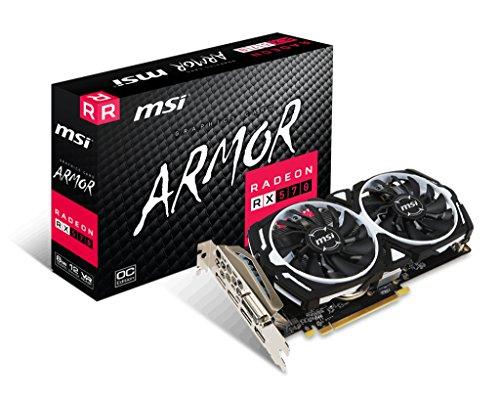 MSI RADEON RX 570 ARMOR 8G OC Graphics Card '8GB GDDR5, 1268Hz, AMD Polaris 20 XL GPU, 3x DisplayPort, HDMI, DVI-D, Dual Fan Cooling System'