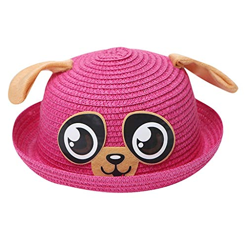 TOTOD Kids Baby Cap Children Breathable Cartoon Hat Ears Straw Sun Protection Hats Under 5 Dollars Hot Pink ()
