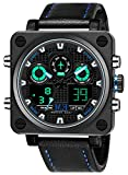 Menton Ezil Mens Sport Electronic Watch 50M Waterproof Square Dial Heavy Watches LED Backlight Display Alarm Stopwatch Digital Wristwatch with Comfortable Black Leather Band