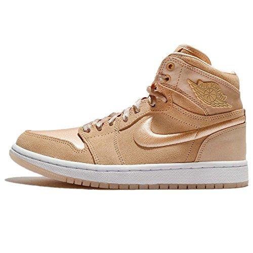 Jordan Nike Women's Air 1 Retro High SOH Ice Peach/White Metallic Gold Casual Shoe 9 Women US
