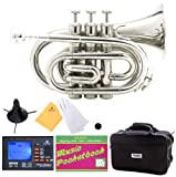 Mendini B-Flat Pocket Trumpet, Nickel Plated and Tuner, Case, Stand, Pocketbook - MPT-N+SD+PB+92D