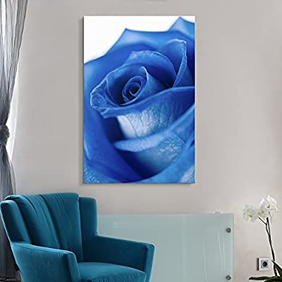 Canvas Wall Art - Closeup of a Blue Rose - Giclee Print Gallery Wrap Modern Home Art Ready to Hang - 16x24 inches