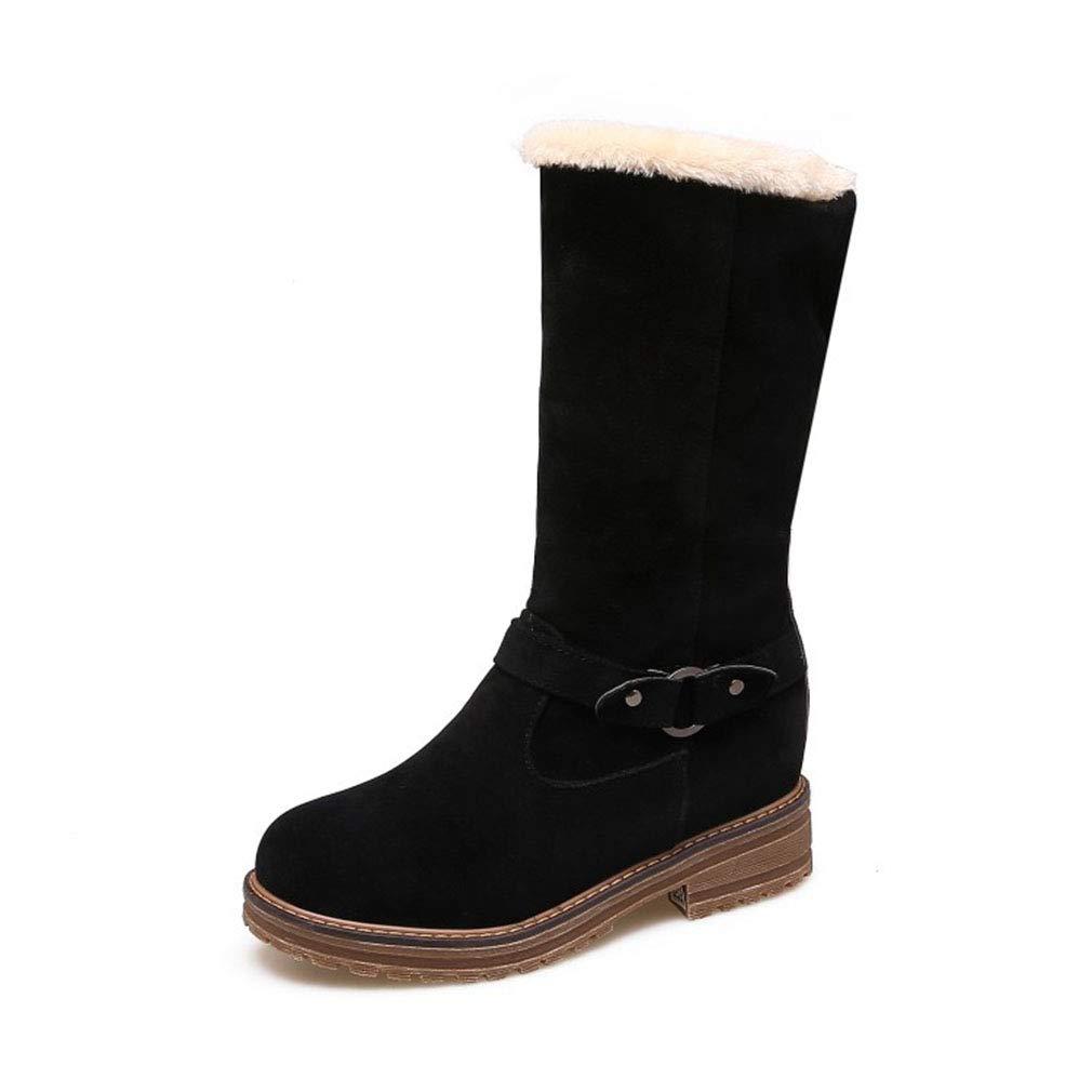 Hy Damen Stiefel Winter Wildleder Schneeschuhe/Wohnung große Größe Stiefelies/Damen Plus Cashmere warme Winterstiefel (Farbe : Schwarz, Größe : 35)
