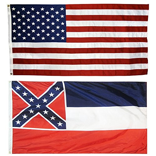 US Flag with Mississippi State Flag 3 x 5 – 100% American Made – Nylon For Sale