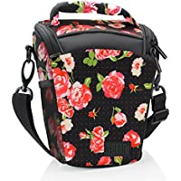 DSLR Camera Case Bag with Top Loading Accesibility , Shoulder Sling and Weather Resistant Bottom by USA Gear - Works With Canon , Nikon , Sony , Pentax and More - Floral